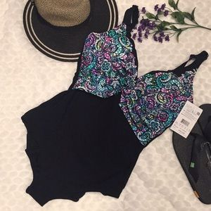 Profile Gottex Paisley Stain Glass Vneck Swimsuit